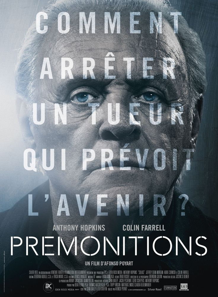 Prémonitions est un film de Afonso Poyart avec Anthony Hopkins, Colin Farrell. Synopsis : Un tueur en série énigmatique sévit à Atlanta, laissant le FBI totalement désemparé. Quoi qu'ils fassent, les enquêteurs ont toujours un coup de retar