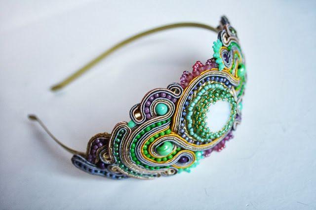 agtesa soutache: Gold & pastels soutache headband