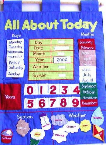 Fabric Wall Chart - All About Today  A gorgeous way for my toddler to start learning and recognising days,numbers, weather etc!  #entropywishlist #pintowin