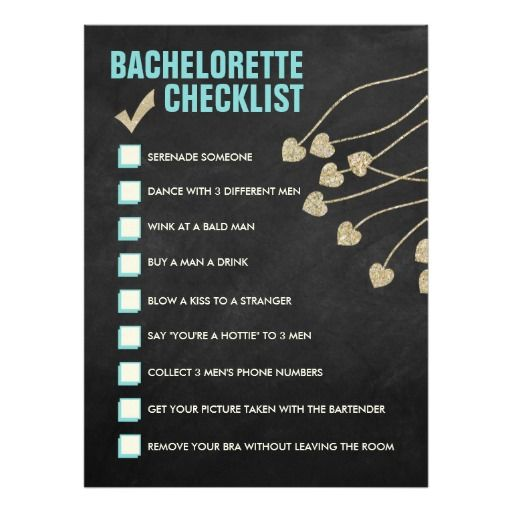 Bachelorette Checklist Card (blue and gold)