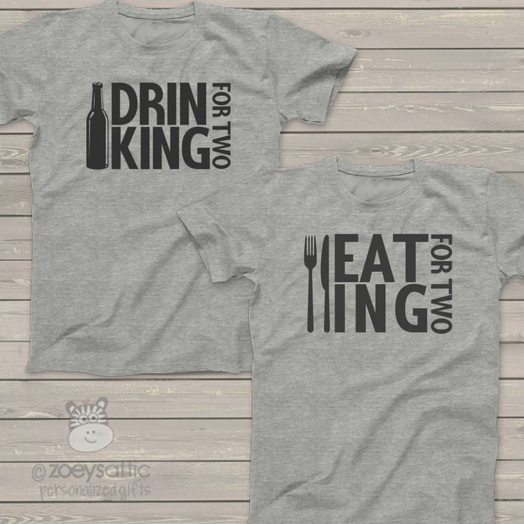 personalized mens shirt, eat drink for two daddy and mommy, pregnancy announcement t-shirt set
