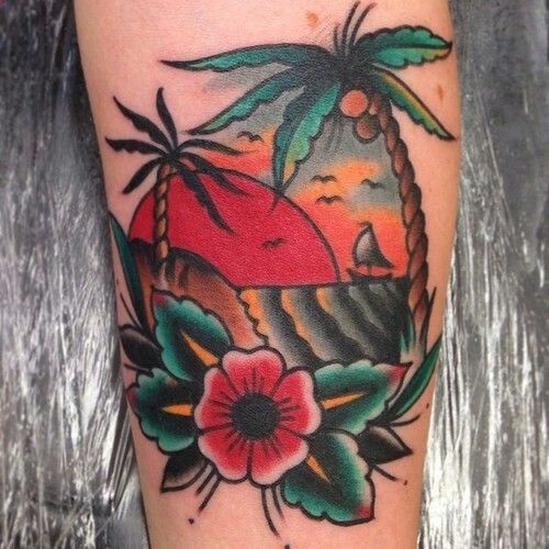 Palm Tree Tattoo traditional