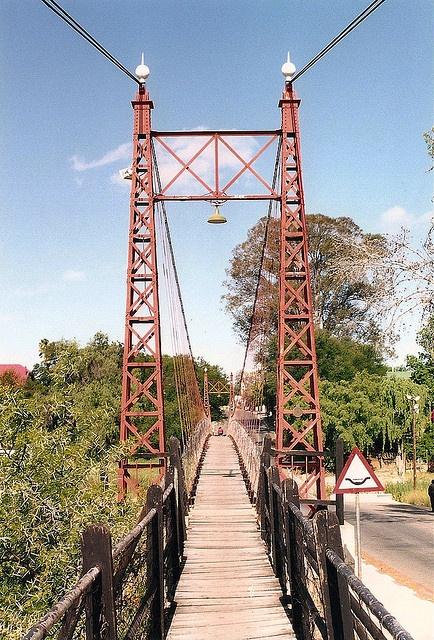 Groblaar's Hanging Bridge - Oudtshoorn, South Africa;  built in 1949;  photo by bridgink, via Flickr