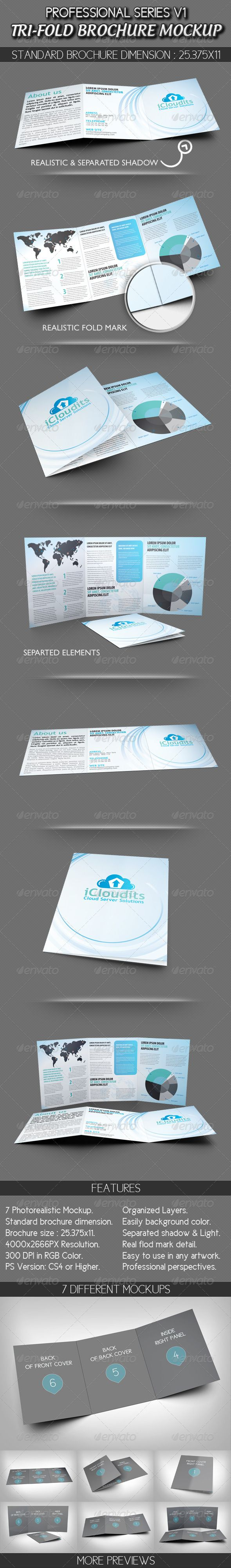 Professional Tri-fold Brochure Mockup V1 - GraphicRiver Item for Sale