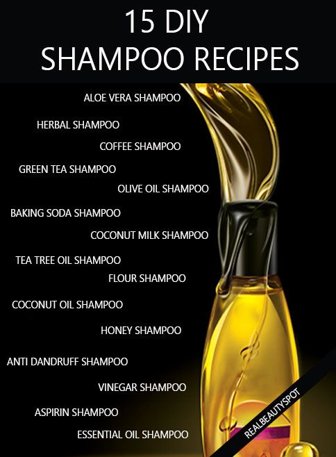15 DIY natural shampoo recipes healthy hair - aloe vera shampoo, baking soda shampoo, coconut milk shampoo, oil shampoo, vinegar shampoo, honey shampoo, herbal shampoo, coffee shampoo, green tea shampoo....