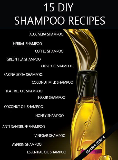 15 DIY natural shampoo recipes healthy hair - aloe vera shampoo, baking soda shampoo, coconut milk shampoo, oil shampoo, vinegar shampoo, honey shampoo, herbal shampoo, coffee shampoo, green tea shampoo....