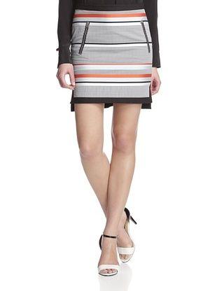79% OFF L.A.M.B. Women's Seersucker Stripe Skirt (Mandarin/Stratosphere)
