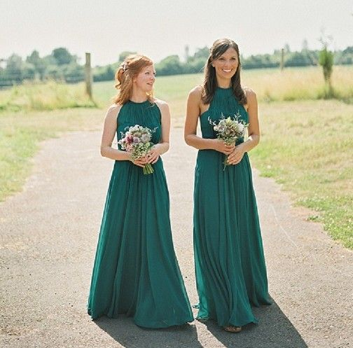 Long Emerald Green Bridesmaids Dresses, Halter Bridesmaids