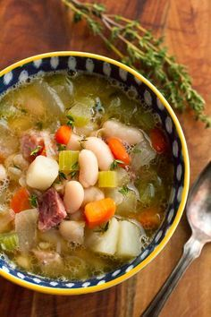Ham and Bean Soup Recipe -- this hearty ham and bean soup is the perfect way to use up leftover ham, delicious on a cold day!