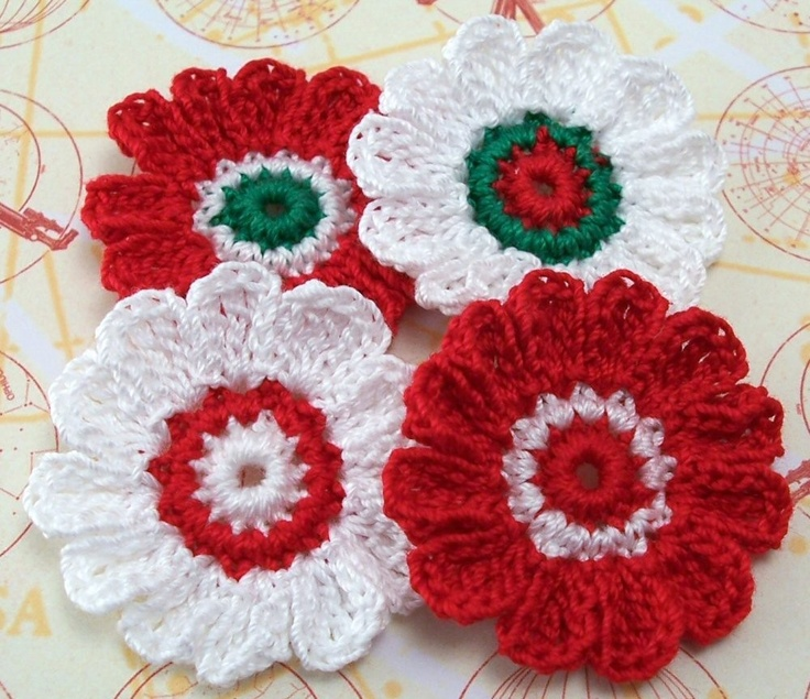 Crocheted Christmas Flower Appliques by FineThreads on Etsy, $4.00