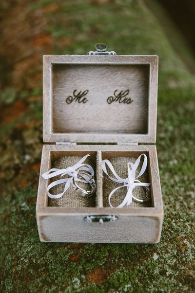 Rustic wooden wedding ring box. Image: Cavanagh Photography http://cavanaghphotography.com.au