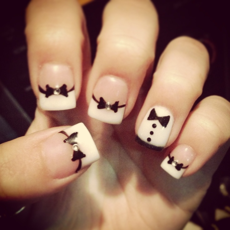 Bow tie, tuxedo, acrylic nail design! CUTE! Get the suit and tie theme goin!