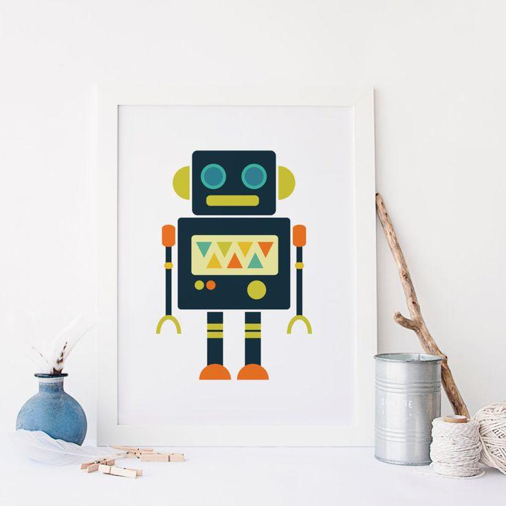 Garçon chambre d'enfant Robot Art mur art citation pépinière mur Art impression numérique mural Art garçons salle lunatique mur Art Orange thème bleu par blueelephantprints sur Etsy https://www.etsy.com/fr/listing/257314188/garcon-chambre-denfant-robot-art-mur-art