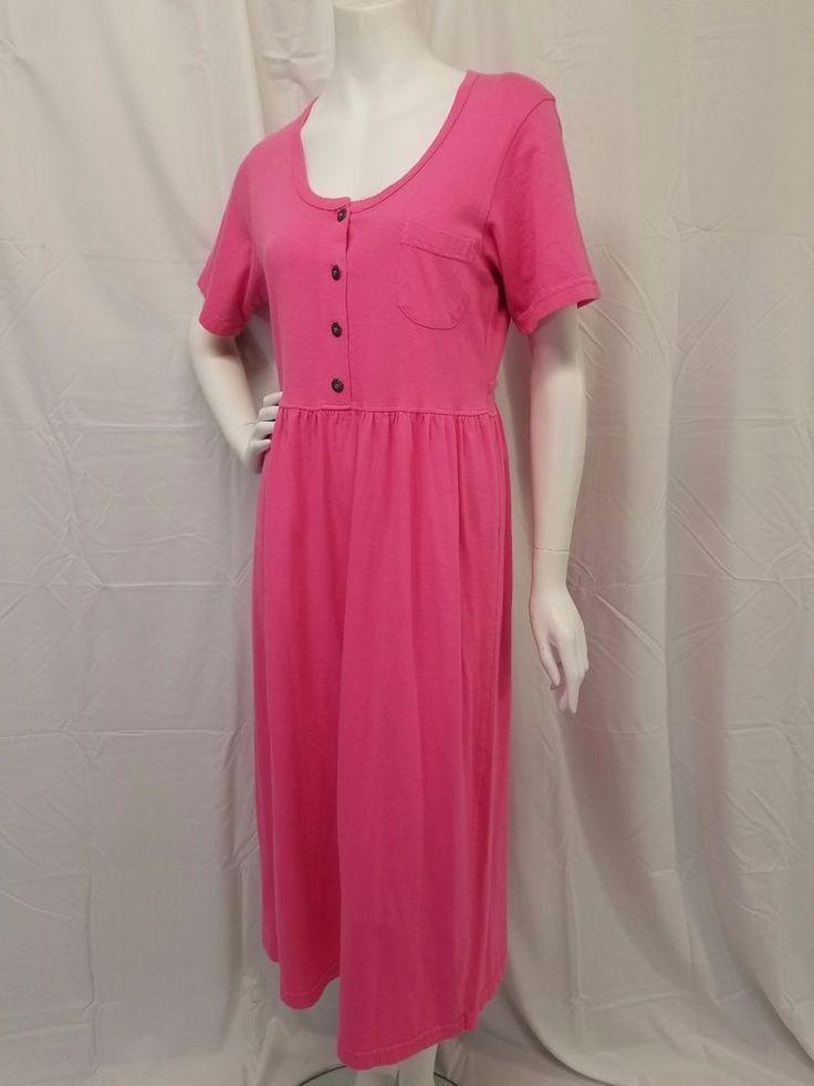 Vtg 80s UNITED COTTON COMPANY Pink Jersey Knit Dress Empire Waist Oversized M #UnitedCottonCompany #EmpireWaist #Everyday