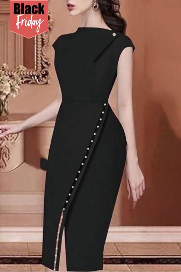 c81b066d64 65% Off, Beading Embellished Irregular Midi Dress | Chic Me Dress in ...