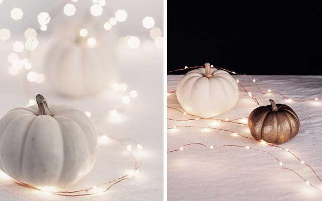 Calabazas blancas para una decoración de Halloween elegante     DECOFILIA.com