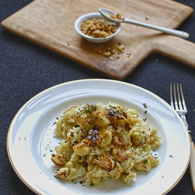 roasted cauliflower and thyme risotto (leave out parmesan)