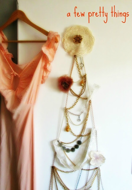 DIY Christmas tree made of jewelry and lace