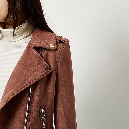 Faux suede Notch lapels Asymmetric zip front fastening External zip pockets Gold tone hardware Our model wears a UK 8 and is 175cm/5'9'' tall