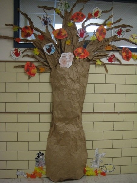 The tree I made outside of my old classroom...keep it up all year and decorate it depending on what season it is. Great way to teach the 4 seasons and how a tree looks during each one.