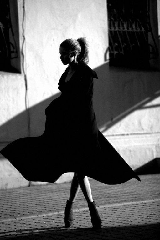 twirl coat b+w photograph