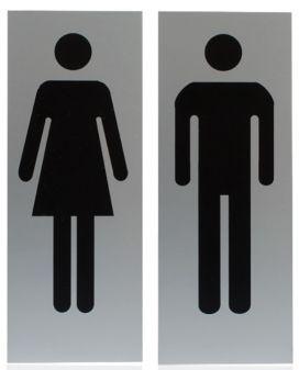 Standaard toiletbordjes van aluminium, afgewerkt met herkenbare pictogrammen. Zakelijke oplossing die altijd kan!