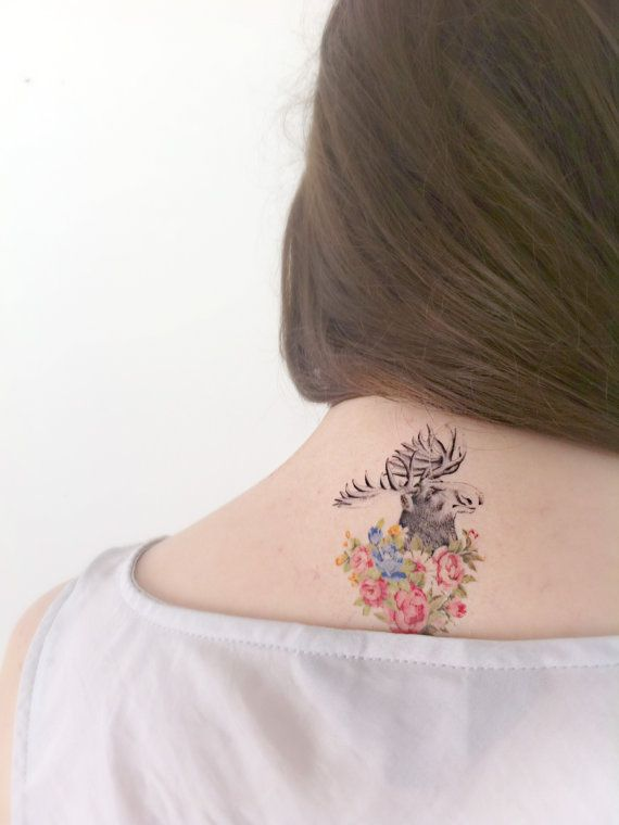 Floral Moose Temporary Tattoo - Woodland, Illustrated Tattoo, Back Tattoo