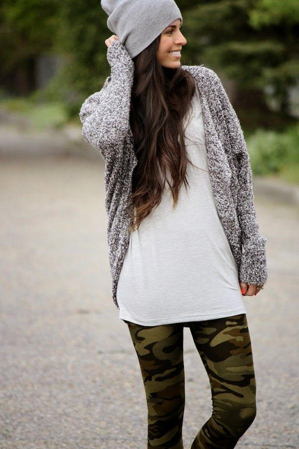 simple white tee and cardigan with camo printed leggings