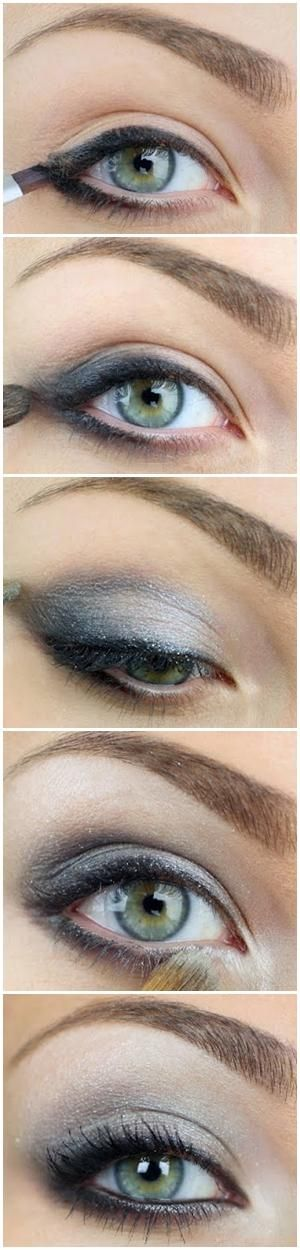 Silvery....you can do the same thing with a dark brown eyeliner and eyeshadow and have a neutral everyday smokey eye!