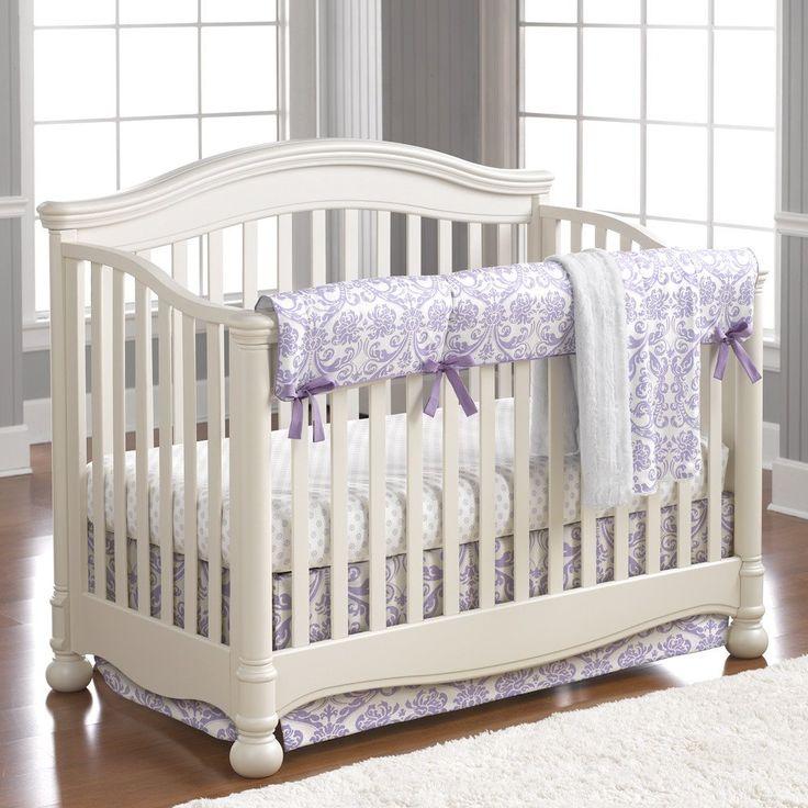 Abigail Lavender Damask Crib Bedding - liz-and-roo-fine-baby-bedding.myshopify.com - 1