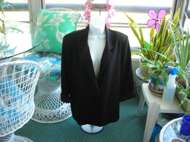 NEW Sag Harbor Stretch Women's Jacket Black Size 14 Machine Washable Blazer #SagHarbor #Blazer