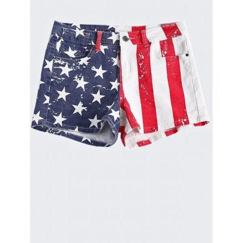 Fashionable Washed American Flag Printing Jean Shorts