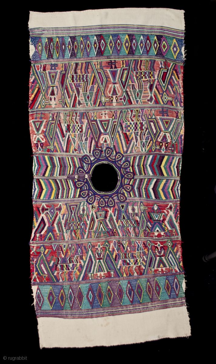 """Huipil (blouse), Santa Maria Nebaj village, Guatemala. Cotton, metal snaps, 1970s or earlier 26"""" (66 cm) high by 23"""" (58.4 cm) wide. Ex. private San Francisco collection  The hand-spun white cotton thread of this huipil was hand woven  ..."""