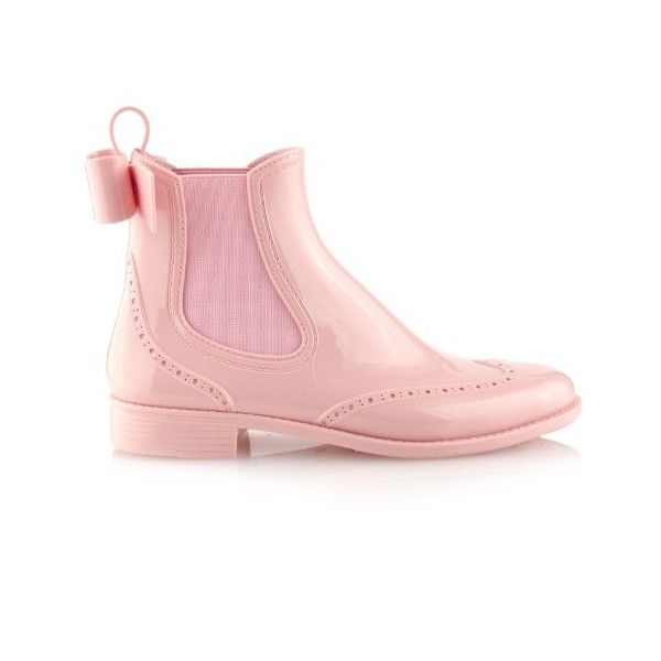REDValentino Bow rubber chelsea boots ($178) ❤ liked on Polyvore featuring shoes, boots, light pink, chelsea bootie, rain boots, red valentino boots, wellington rubber boots and bow rain boots