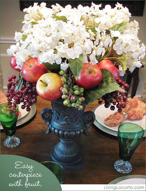 Fall Centerpiece Decorated with Fruit - Easy craft idea for the holidays!