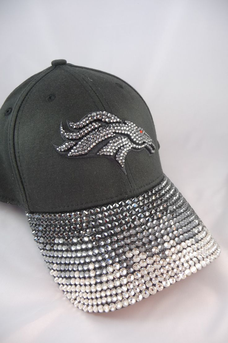 Black Denver Broncos Women's Bling Cap. Made by hand with Swarovski Crystals. www.customteambling.com