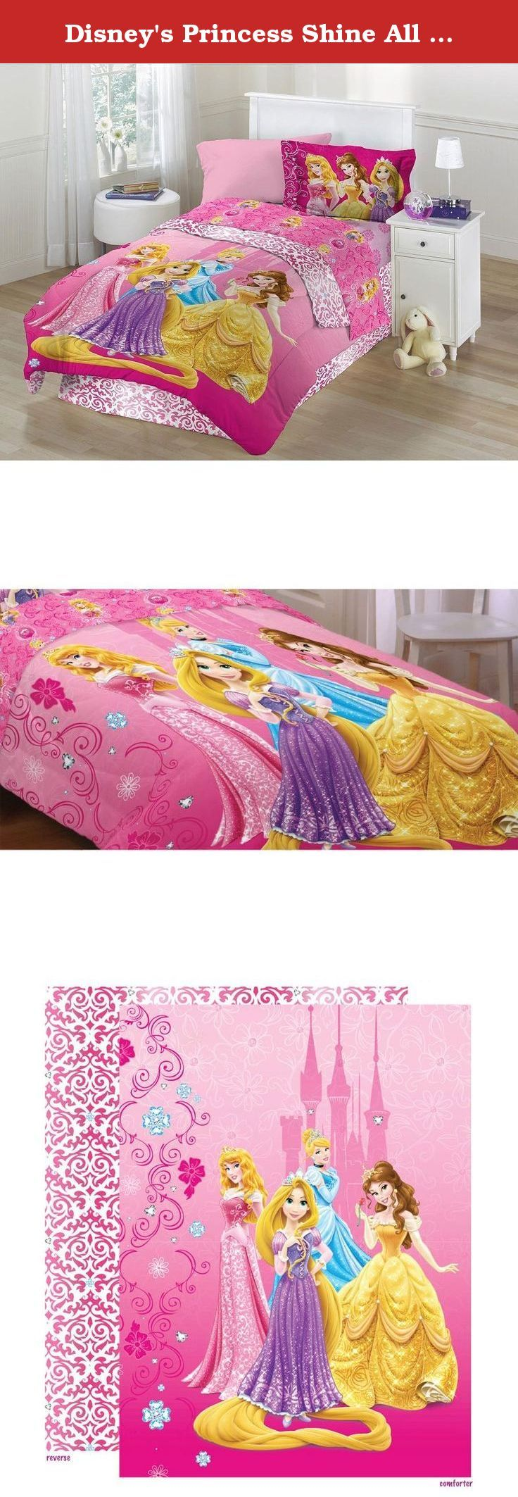 Disney's Princess Shine All The Time Twin Comforter Set. Let your little one shine like a Disney princess with this beautiful comforter set! It comes with a twin size comforter, bedskirt, and one standard pillow sham. Complete her princess room by adding coordinating sheets and wall accents (sold separately). CONTENTS: One twin bed size comforter measuring approximately 64 x 86 inches (163 cm x 218.4 cm). One bed-skirt measuring 39 x 75 inches (99 x 191 cm) to fit a standard twin…