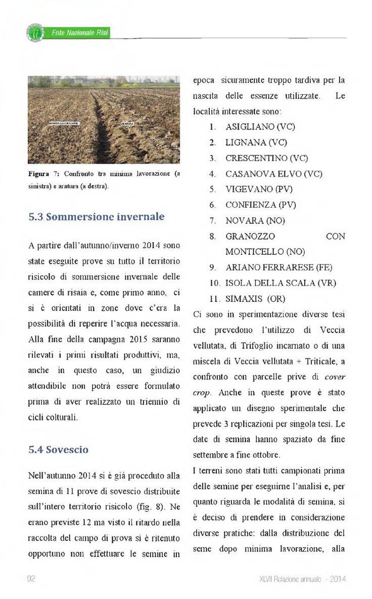 Ente Nazionale Risi - 2014 - XLVII Relazione Annuale #feldarbeiten
