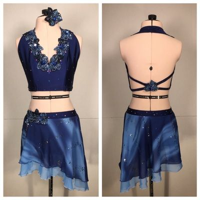 """Dreamy blue custom contemporary dance costume for Gracie. """"In the Sky."""""""