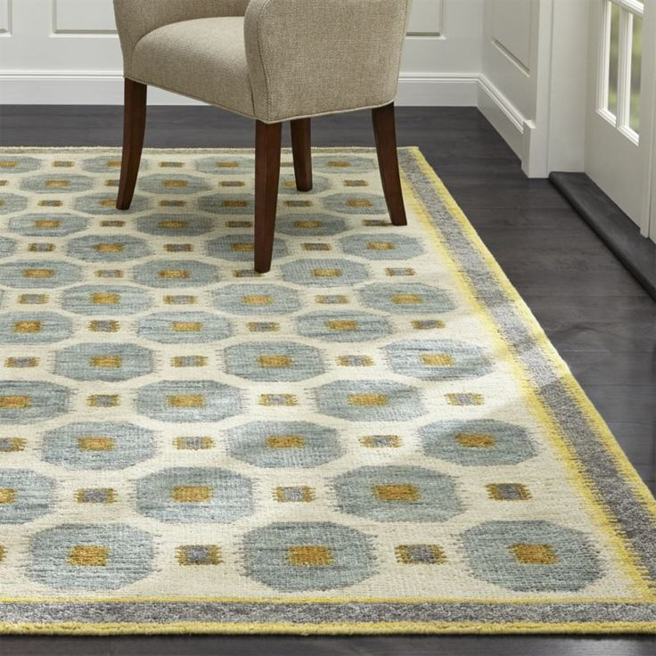 "Characteristic of the mid-century Scandinavian rugs that inspired Barbara Costas' design, the hand-knotted, wool-blend Alvy rug is a graphic take on traditional rug patterns, rendered in a high-contrast palette of springlike neutrals.<br><br><a href=""/special-features/patterned-rugs/1"">Shop all patterned rugs</a><br><br><NEWTAG/><ul><li>Designed by Barbara Costas</li><li>52% wool and 48% rayon yarn</li><li>Rug pad recommended</li><li>Professional cleaning recommended</li><li>Shedding will…"