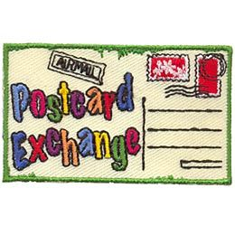 Postcard Exchange, Pen Pal, Postcard, Stamp, Mail, Letter, Patch, Embroidered Patch, Merit Badge, Crest, Girl Scouts, Boy Scouts, Girl Guides