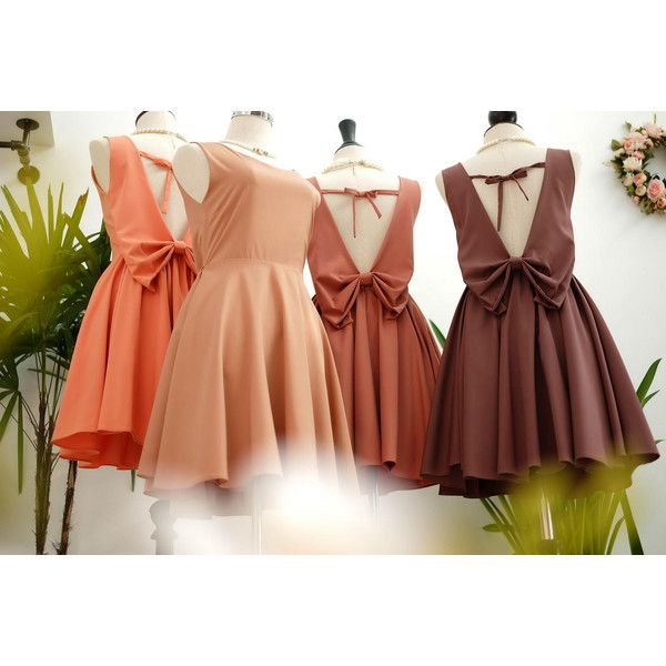 Brown Dress Brown Party Dress Backless Dress Brown Prom Dress Brown... ($22) ❤ liked on Polyvore featuring dresses, orange, women's clothing, going out dresses, brown prom dresses, orange prom dresses, orange cocktail dress and holiday party dresses