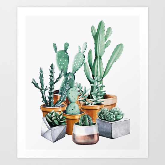 Click Nature Magick shop for more cactus art! Potted cactus plant foliage botanical nature artwork drawing. Watercolor painting of many california arizona cacti and succulents in stone and bronze metallic pots on cream paper