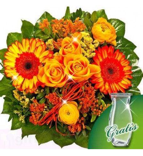 Strauß mit 3 orangen #Rosen, 2 orangen Asklepien, 2 gelben Limonium, 2 gelben Ranunkel, 2 bunten #Gerberas