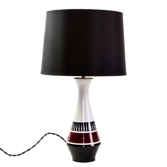 1950's Burleighware Lamp with Black Silk shade and by TygerDesign