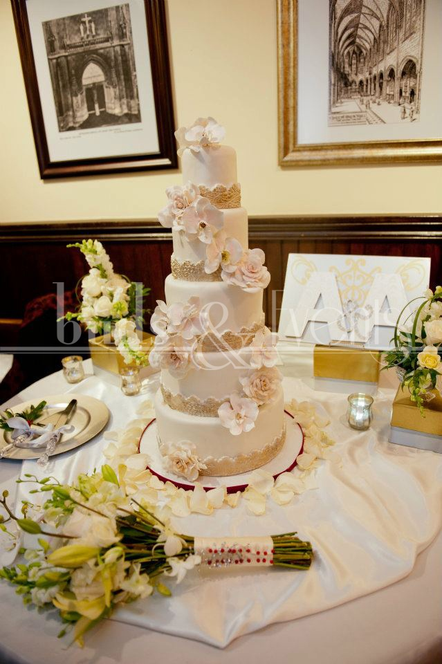 17 best images about wedding top that cake on pinterest for Wedding cake table decorations