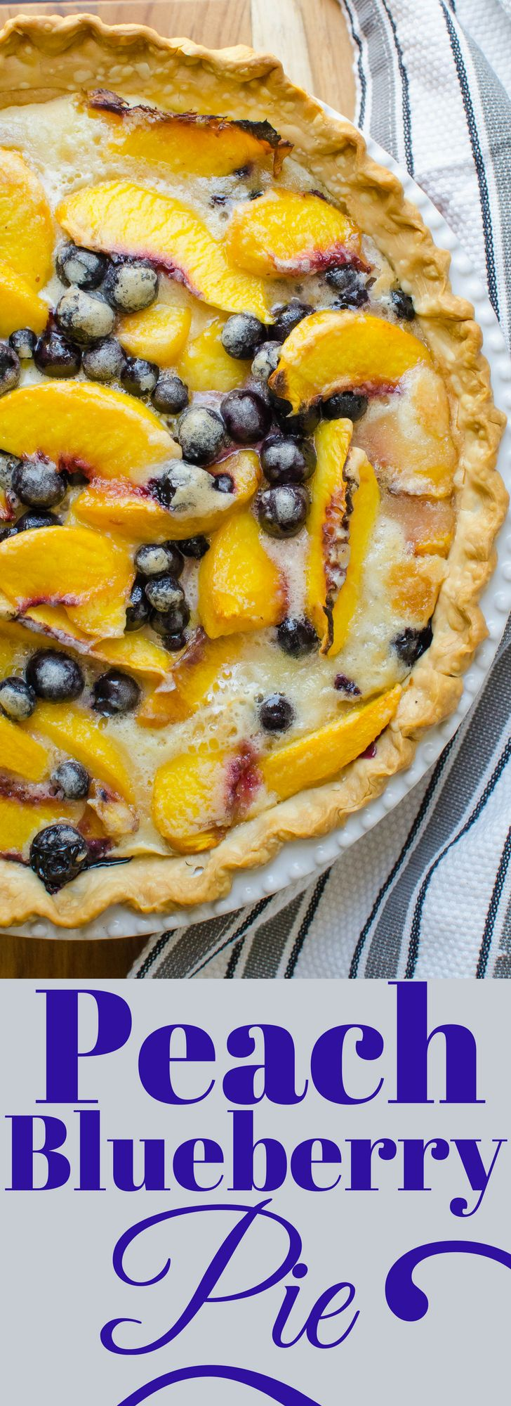 This is grandma's recipe for the easiest homemade Peach Blueberry Pie. Store-bought crust, fresh fruit and a custard filling makes this a family favorite!