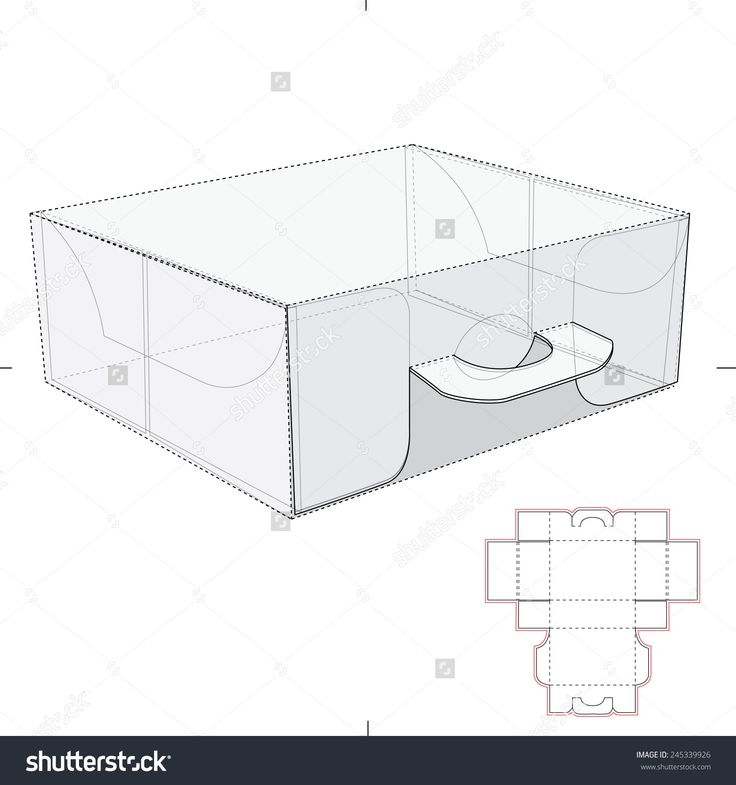 Carrier Box With Handles And Die Cut Templates Stock Vector Illustration 245339926 : Shutterstock