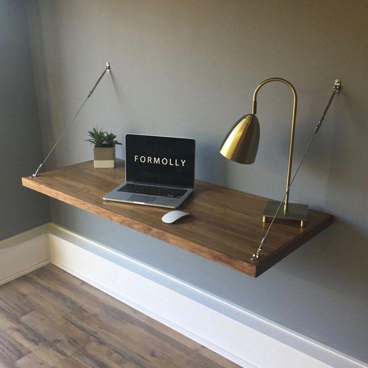 An der Wand befestigter sich hin- und herbewegender Schreibtisch – Walnuss, #fixed #Decorated …