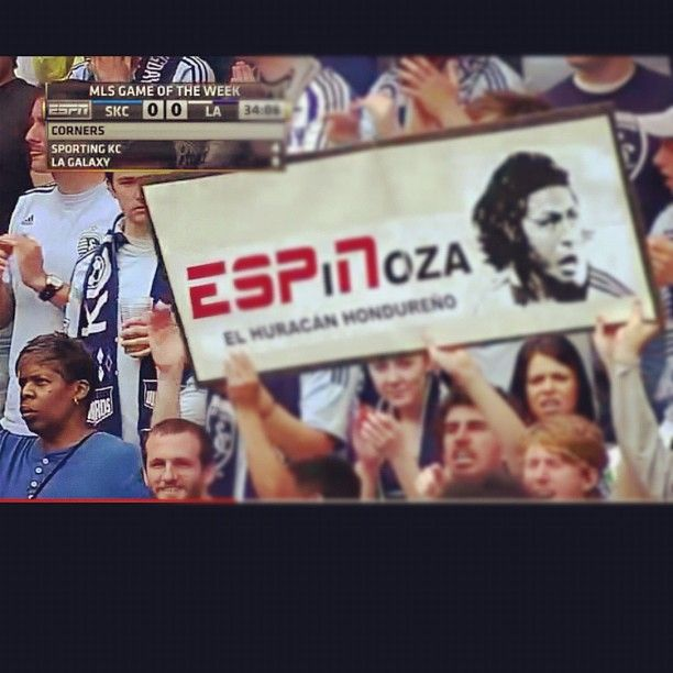 A clever group of Roger Espinoza fans constructed this gem prior to Sporting Kansas City's victory over the LA Galaxy at LIVESTRONG Sporting Park on April 7th, 2012. The game was broadcasted on ESPN.